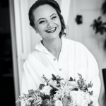 mariage, rire, coiffure, maquillage, bouquet,