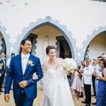 mariage, église, robe, costume, pétales,