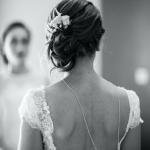 mariage, coiffure, robe,