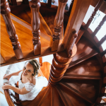 mariage, robe, escaliers,