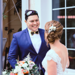 mariage, coiffure, bouquet, costume,