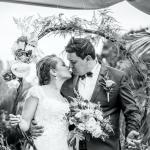 mariage, bouquet, fleurs, bisous,