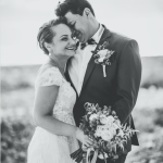 mariage, bouquet, robe, costume, plage,