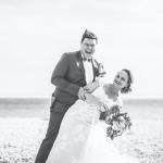 mariage, rire, bouquet, plage,