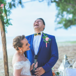 mariage, rire, plage,