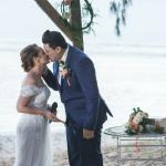 mariage, bisous, plage, cérémonie, bouquet,