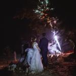 mariage, feu d'artifice, robe, lumière,