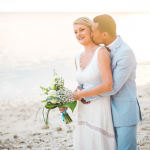mariage, plage, bouquet,