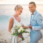 mariage, plage, réunion, bouquet,