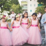 mariage, rose, enfants, fleurs,