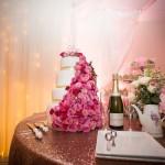mariage, gâteau, fleurs, champagne, rose,