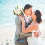 mariage, bisous, bouquet, plage, réunion,