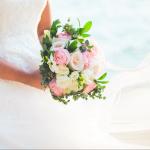 mariage, bouquet, fleurs, robe,