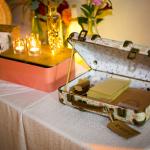mariage, décoration, valise,