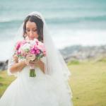 mariage, bouquet, mer,