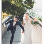 mariage, original, drôle, robe, pont, bouquet,